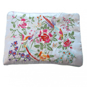 Wrapables Silk Embroidered Brocade Jewellery Travel Organiser Rolls, Lavender