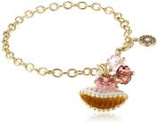 "Little Miss Twin Stars Girls' ""Ballet Beauty"" 14k Gold Plating Enamel Ballet Dress and Crystal Cluster Charm Bracelet"