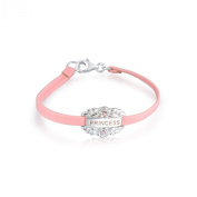 Bling Jewellery 925 Silver Crystal Princess Message Girls Bracelet Pink Leather