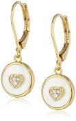 "Little Miss Twin Stars Girls' ""Little Miss Flower"" 14k Gold Plated Cubic Zirconia Heart Mother-Of-Pearl Circle Drop Earrings"