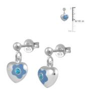 Silver December Birthstone Flower Enamel Heart Dangling Girls Earrings