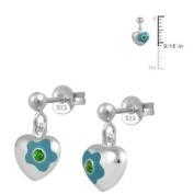 Silver May Birthstone Flower Enamel Heart Dangling Girls Earrings