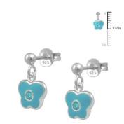 Girls Jewellery - Silver March Birthstone Butterfly Dangling Earrings