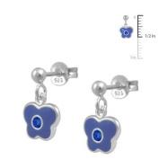 Girls Jewellery - Silver September Birthstone Butterfly Dangling Earrings