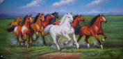 Animal White Red Horses Oil Painting on Canvas No Frame