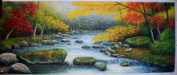 Landscape Trees Rock River Oil Painting Painting on Canvas No Frame