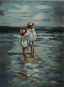 No Frame Beach Children Oil Painting 30cm x 41cm Painting on Canvas Only