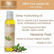 Beauty Aura 100 % Pure Jojoba Oil Is Cold Pressed From Best Quality Jojoba Seeds, 120ml