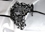 Men Black Phantom Skull Laser Cut Venetian Masquerade Mask with Rhinestones Event Party Ball Mardi Gars