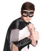 Black Superhero Eye Mask and Powerbands - Adult