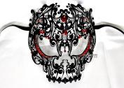 Men Devil Skull Laser Cut Venetian Masquerade Mask with Red Rhinestones Event Party Ball Mardi Gars