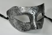 Silver Antique Greek Roman Warrior Men Venetian Mardi Gras Party Masquerade Mask - Event Party Ball Mardi Gars