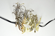 Gold Swan Laser Cut Venetian Masquerade Mask with Rhinestones Event Party Ball Mardi Gars
