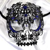 Men Devil Skull Laser Cut Venetian Masquerade Mask with Blue Rhinestones Event Party Ball Mardi Gars
