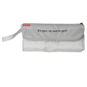 "Baby Nappy Clutch Changing Bag - ""To Pee, or not to pee."" White"