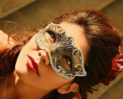 Women Gold Anonymous Black Laser Cut Venetian Masquerade Mask - Event Party Ball Mardi Gars