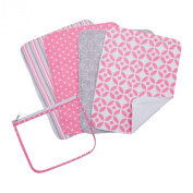 Trend Lab Lily Zipper Pouch and 4 Burp Cloth Gift Set