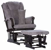 Stork Craft Custom Tuscany Glider and Ottoman - Black Finish with Grey Cushions
