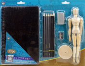 10 Pc Sketch SET w/ Pencils, Sketch Book, Mannequin Etc