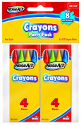 RoseArt Party Pack Crayons, 4 Crayons/Box, Pack of 8 Boxes, Packaging May Vary