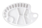 30cm Heavy Duty Oval Plastic Palette , 5 Large Wells and 11 Small Wells