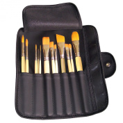 Artist Brush Set - 12 Assorted Golden Synthetic Short Wooden Handled Paint Brushes with Artist Roll - Perfect Starter Kit for Fine Art Students or Arts & Crafts Hobbyists - Suitable for Acrylic, Oil, Watercolour Painting - Handcrafted in USA