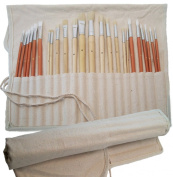 Artist Paint Brush Set & FREE Canvas Storage Holder - 24-Piece Long Handled Brushes in Natural & Synthetic Hair for Oil and Acrylic - Ideal Paintbrush Kit with Organiser Case for Artists, Art Students and Kids
