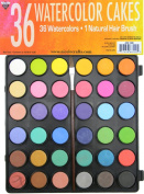 36 Watercolour Cakes Plus 1 Natural Hair Brush in Convenient Storage Case
