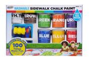RoseArt Washable Sidewalk Chalk Paint, Big Super Set with 8 Colours & 2 Foam Brushes