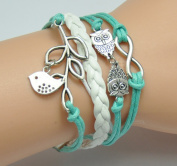 AONIMEI Fashion Lady Retro Infinity Wings Owl Strands Suede Rope Bracelet Gift