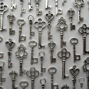 Skeleton Key Charm Set in Antique Silver (48 Charms) 6 Different Styles - Vintage Style Key Charms