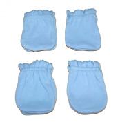 4 Pairs Cotton Newborn Baby/infant Boy No Scratch Mittens Gloves - Light Blue