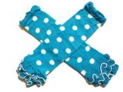 KWC - Turquoise & White Polka Dots Ruffles Baby Leg Warmer/ Leggings