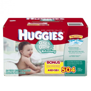 Huggies One and Done Refreshing Baby Wipes,Cucumber & Green Tea, Refill, 504 Count