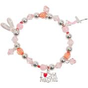 Heirloom Charms Girl's Pink I Love Gymnastics Enamel Beaded Charm Bracelet