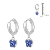 Girls Silver September Birthstone Butterfly Huggie Hoop Earrings