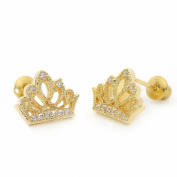 14k Gold Plated Baby Princess Crown Children Screwback Earring With 925 Silver Post Baby, Toddler, Kids & Children