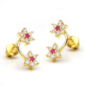 14k Gold Plated Flower and Flower Children Screwback Earring With 925 Silver Post Baby, Toddler, Kids & Children