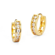14k Gold Plated Baby Channel Huggy Children Earrings with 925 Silver Post Baby, Toddler & Kids