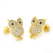 14k Gold Plated Cute Owl Children Screwback Earring With 925 Silver Post Baby, Toddler, Kids & Children