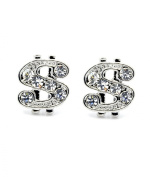 Girls & Boys 8mm Money Sign Silver Plated with Clear Crystal Earrings Cz Hip Hop