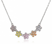 "Little Miss Twin Stars Girls' ""Little Miss Flower"" 3-Tone Cubic Zirconia Flowers Chain Necklace, 41cm"