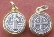 Catholic Religious Vintage Antique St. Benedict Saint Medal Pendant Charm, Loose, No Chain, St Benedict Medal Material:antique Gold Plated Alloy Thickness:5mm Diameter:28mm