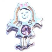 Silver Girl Birthstone June Floating Locket Charm