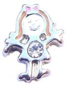 Silver Girl Birthstone April Floating Locket Charm