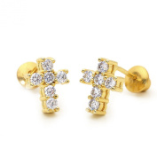 14k Gold Plated Baby CZ Cross Children Screwback Earring With 925 Silver Post Baby, Toddler, Kids & Children