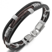 JBlue Jewellery Men,Women's Alloy Genuine Leather Bracelet Bangle Rope Black Silver Brown White Braided