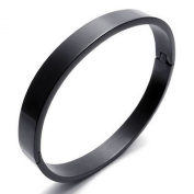 KONOV Jewellery Polished Stainless Steel Bangle Cuff Bracelet, Unisex Mens Womens, Colour Black