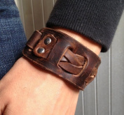 Antique Men's Brown Leather Cuff Bracelet, Leather Wrist Band Wristband Handcrafted Jewellery SL2258