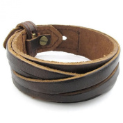 KONOV Jewellery Mens Leather Bracelet, Wrap Cuff Bangle, Fit 18cm - 20cm , Brown